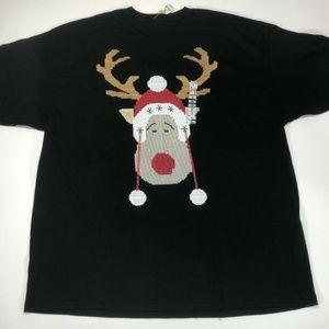 Christmas Theme Mens Black T-Shirt Moose Design